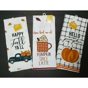 Cute Fall Kitchen Tea Towels - Set of 3 NWT